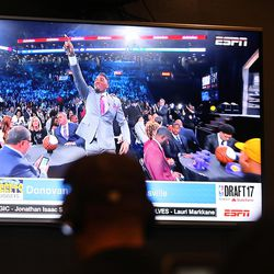 Utah journalists watch as Donovan Mitchell is drafted by the Nuggets and traded to the Jazz during the NBA draft at the Zions Bank Basketball Center in Salt Lake City on Thursday, June 22, 2017.