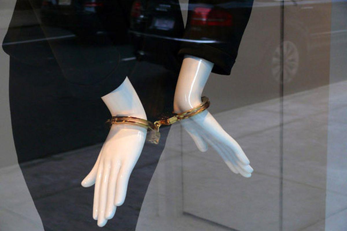 "High-end handcuffs at Barneys via <a href=""http://modelizing.blogspot.com/2009/10/calvin-klein-barneys.html"">Modelizing</a>"