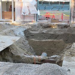 View of the excavation on Sheffield in front of Gate Q