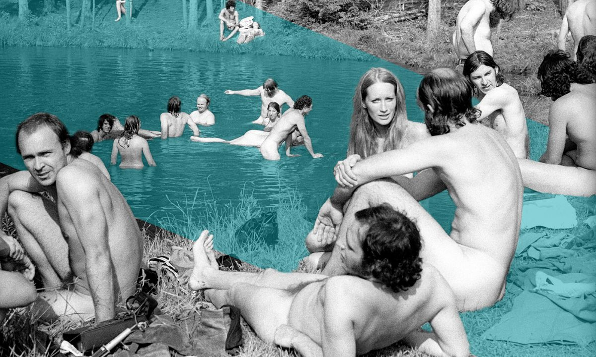 A collage illustration of nudists