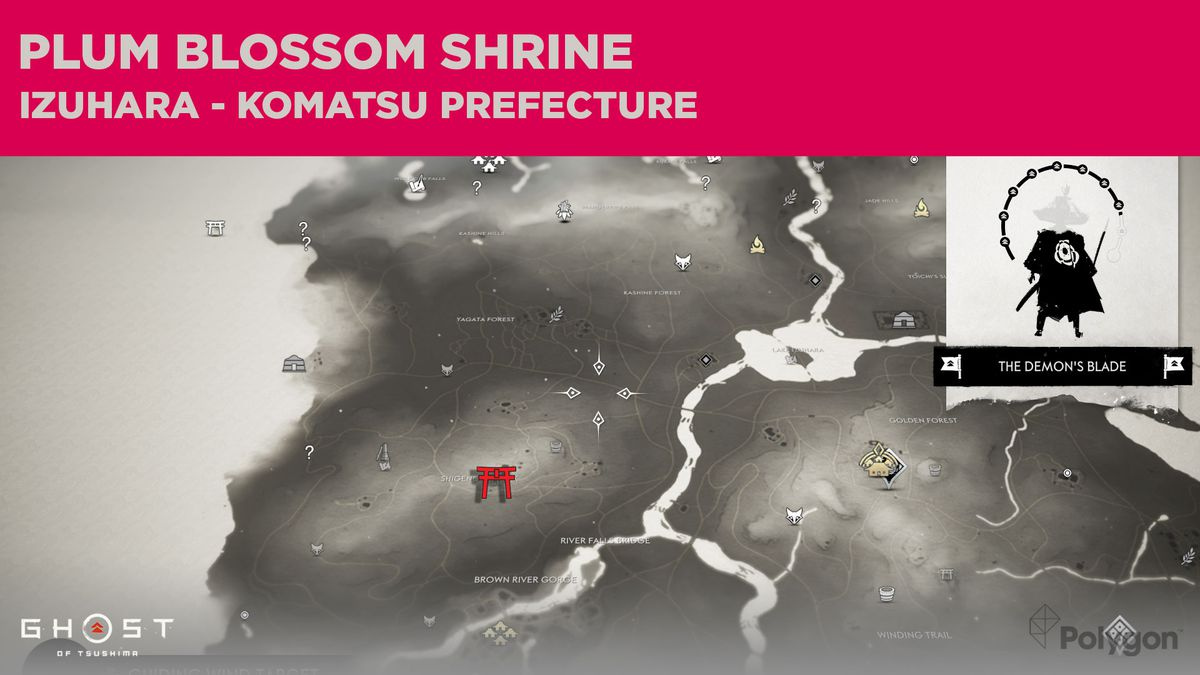 The location of Plum Blossom Shrine in Ghost of Tsushima