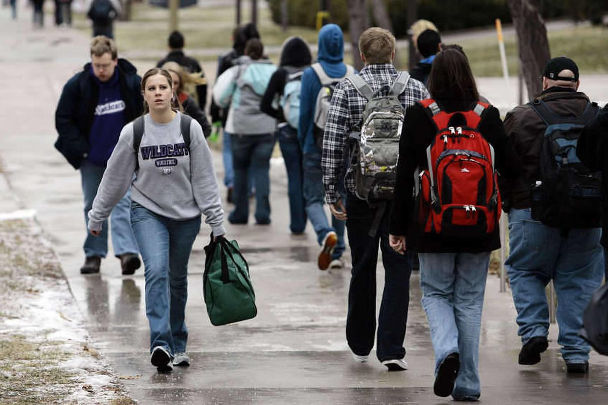 Students make their way to class at Weber State University in Ogden Monday, February 7, 2011.