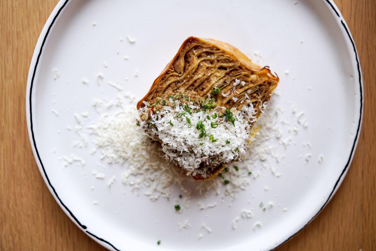 Mapo tofu lasagna by Mei Lin