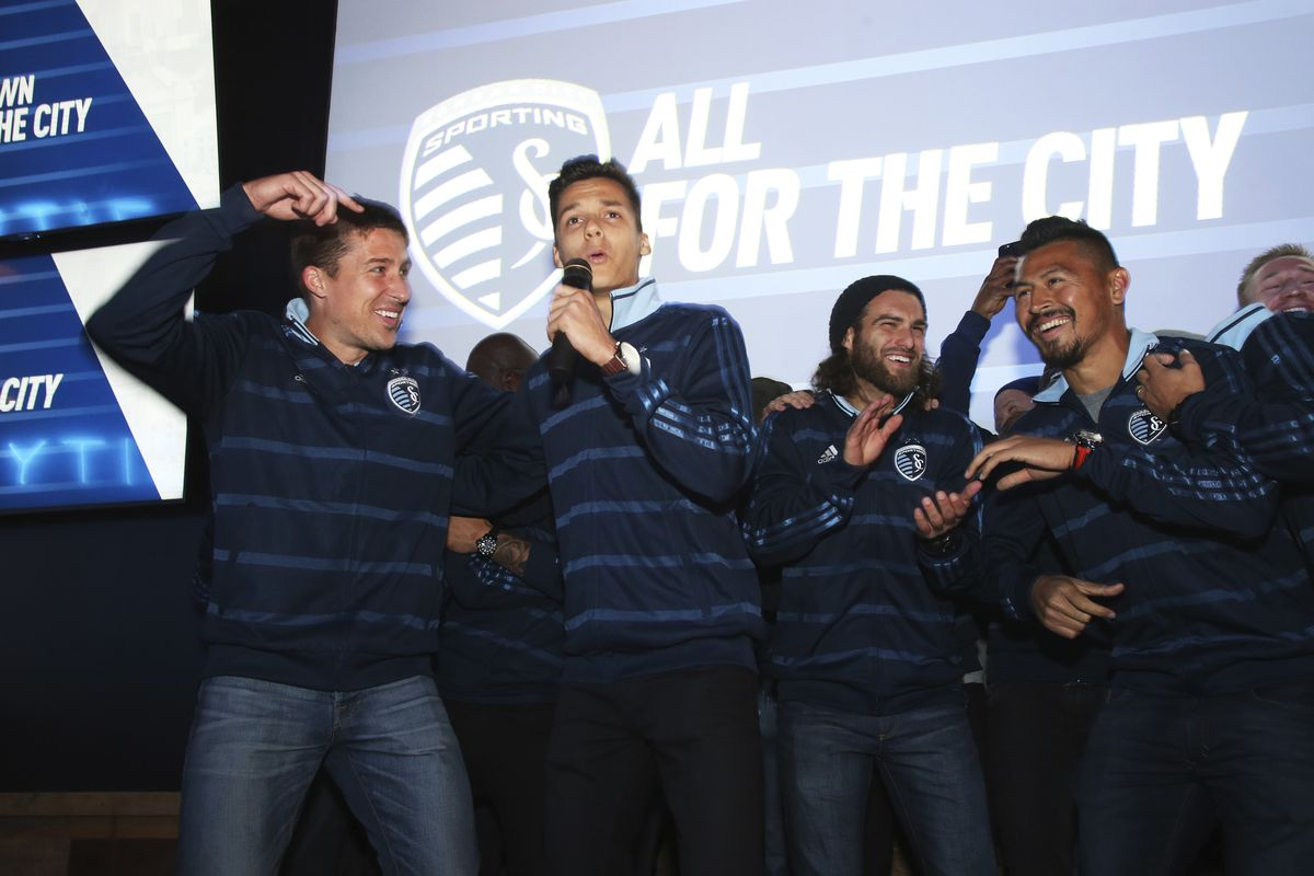 """Salloi leading the """"I beleive that we will win"""" chant at the season kickoff party."""