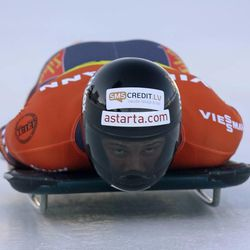 Latvia's Martins Dukurus competes in the men's skeleton World Cup event on Friday, Dec. 6, 2013, in Park City. Dukurus came in second place.