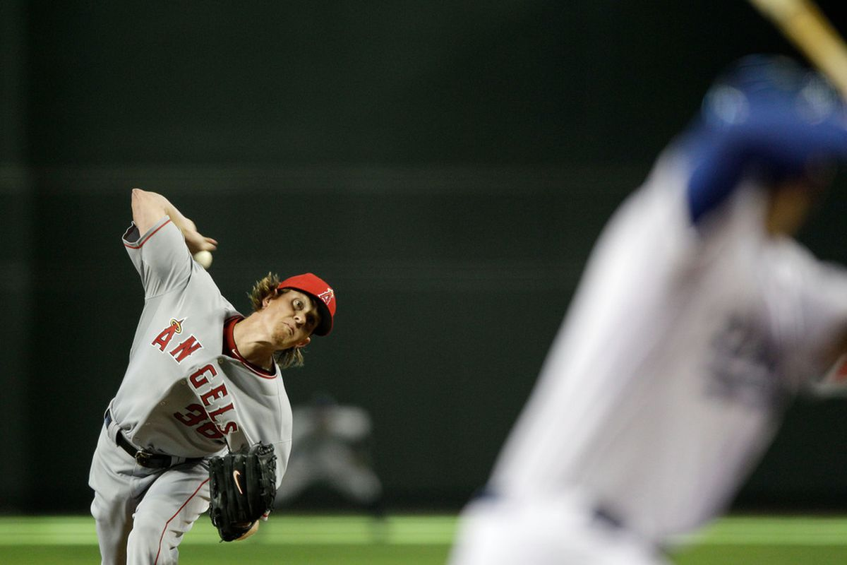 PHOENIX, AZ - JULY 12:  American League All-Star Jered Weaver #36 of the Los Angeles Angels pitches in the first inning of the 82nd MLB All-Star Game at Chase Field on July 12, 2011 in Phoenix, Arizona.  (Photo by David J. Phillip/Pool/Getty Images)