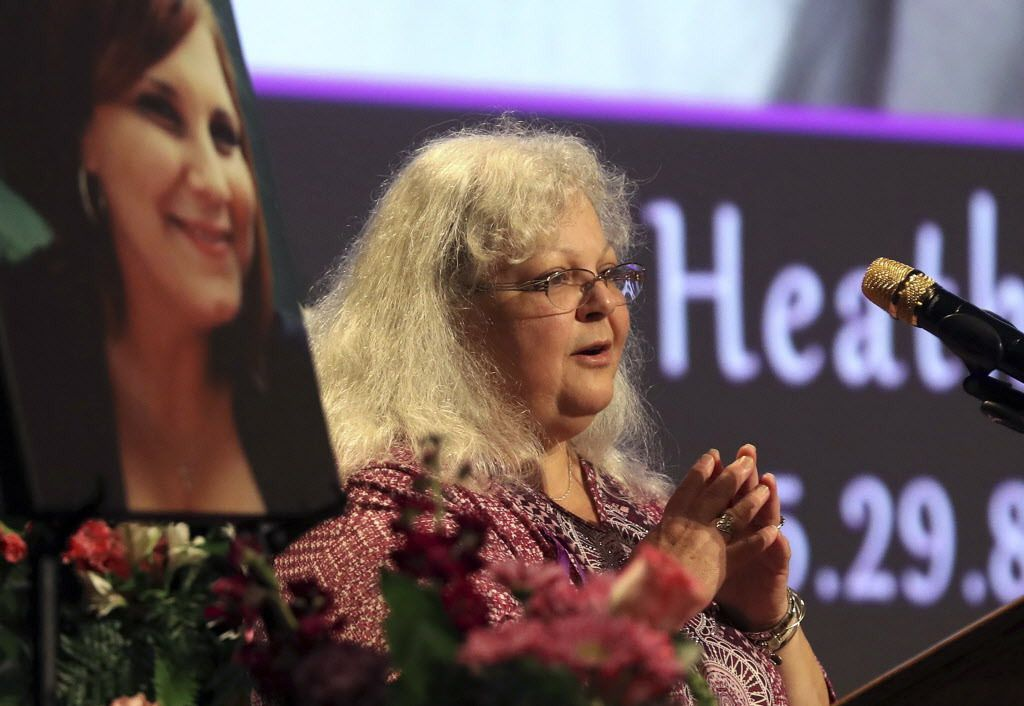 Susan Bro, the mother of Heather Heyer, speaks during a memorial for her daughter, on Wednesday, Aug. 16, 2017, at the Paramount Theater in Charlottesville, Virginia.   Andrew Shurtleff/The Daily Progress via AP