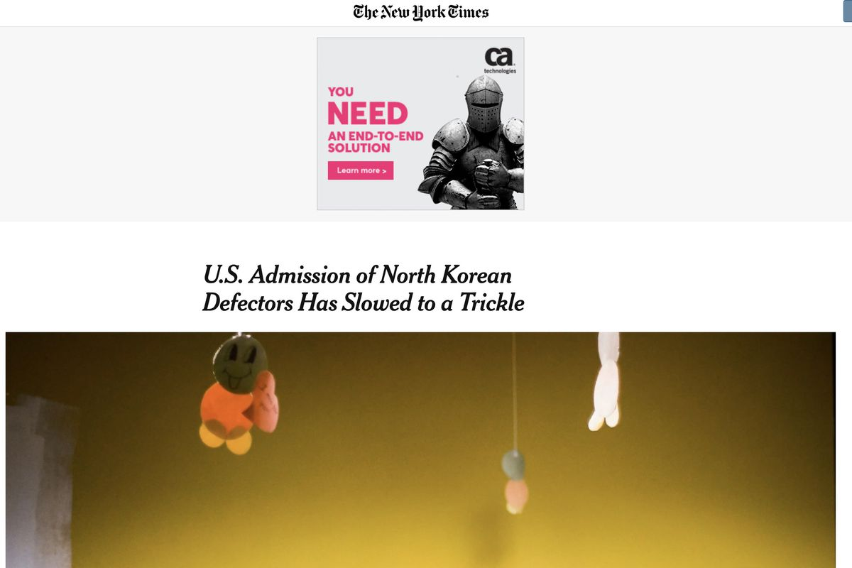 A Utah family appeared in a New York Times report about the United States admitting North Korean defectors into the country.