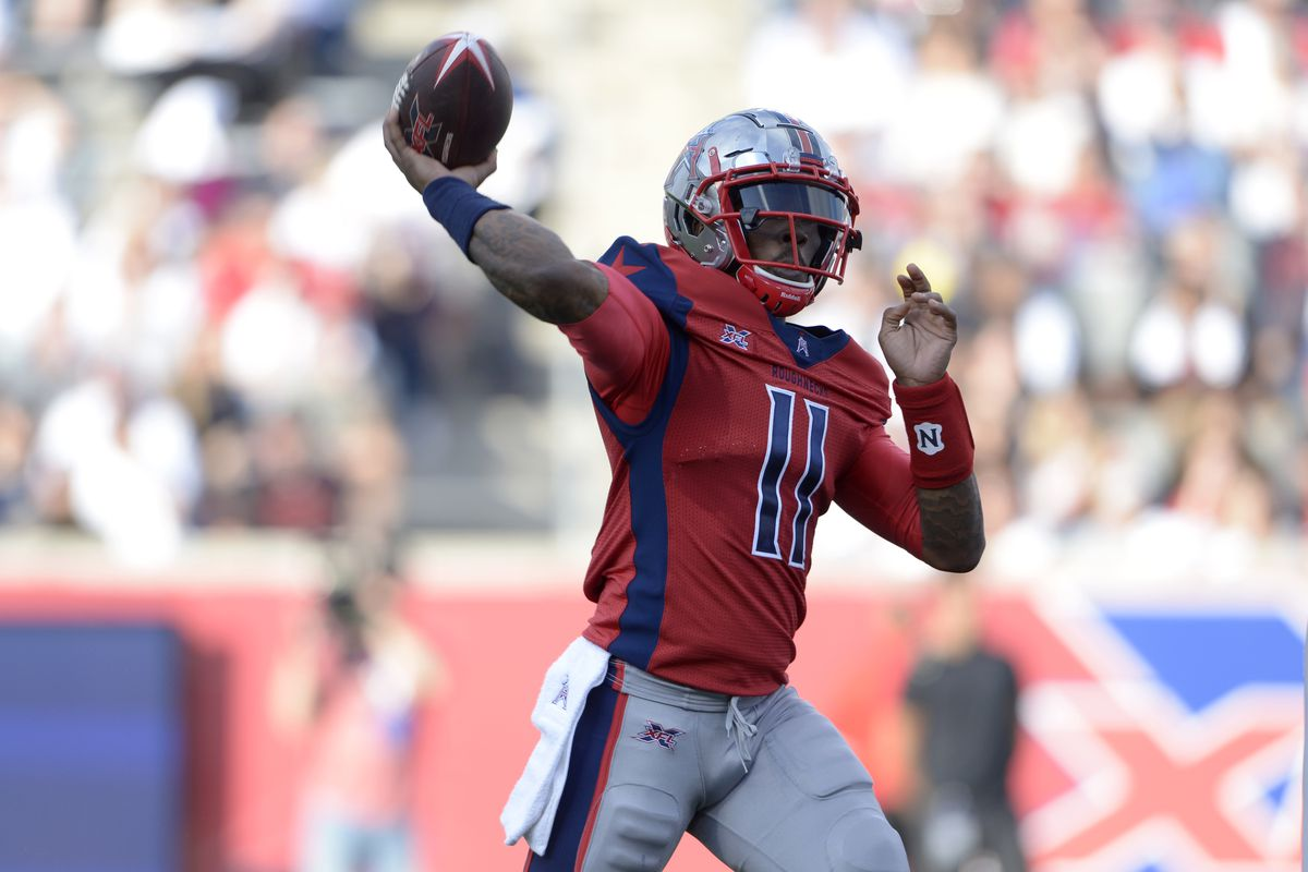 Houston Roughnecks quarterback P.J. Walker passes the ball against the LA Wildcats on February 8, 2020 at TDECU Stadium in Houston, Texas.