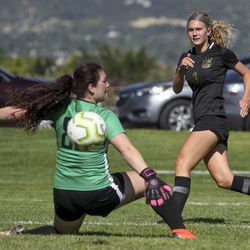 Northridge goalkeeper Jacee Berry deflects Grace Nicol's shot wide of the goal during soccer match against Davis in Kaysville on Tuesday, Aug. 20, 2019. Northridge defeated Davis 1-0.