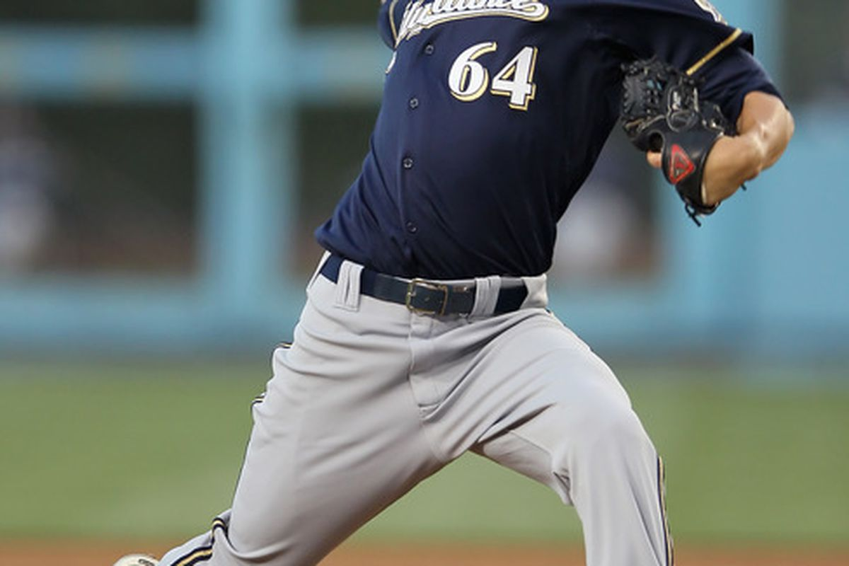 LOS ANGELES, CA - MAY 29:  Michael Fiers #64 of the Milwaukee Brewers pitches against the Los Angeles Dodgers in the second inning at Dodger Stadium on May 29, 2012 in Los Angeles, California.  (Photo by Jeff Gross/Getty Images)