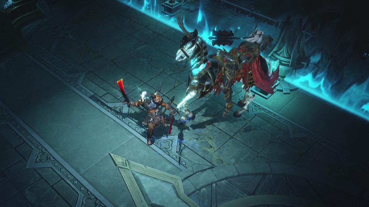 A Barbarian battles a demon in Diablo Immortal
