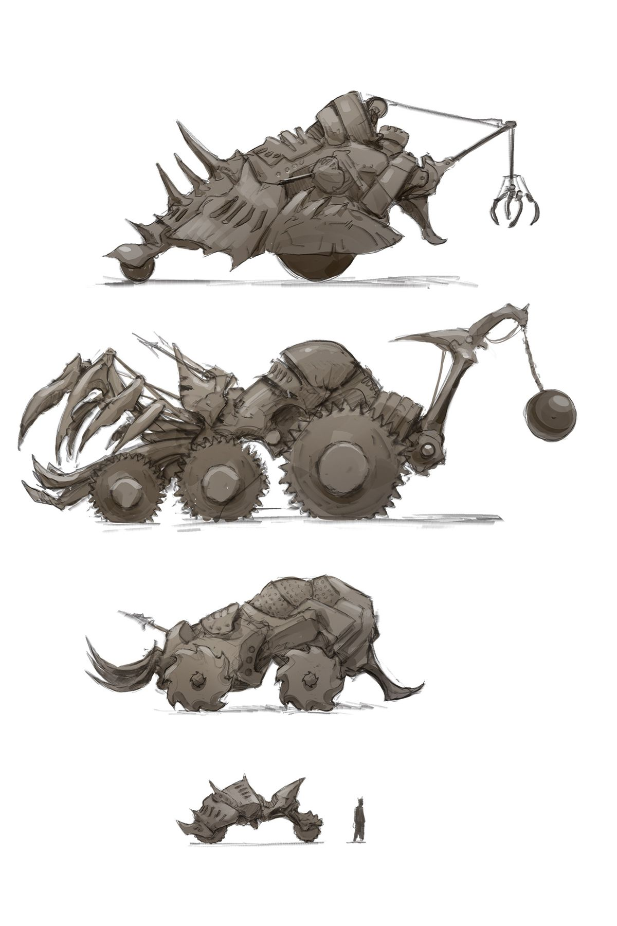 Four Infernal War Machines rendered in muted gray colors and simple line drawings from Baldur's Gate: Descent Into Avernus. Each one is bristling with spikes and harpoons. One has a wrecking ball, and another a wicked-looking claw.