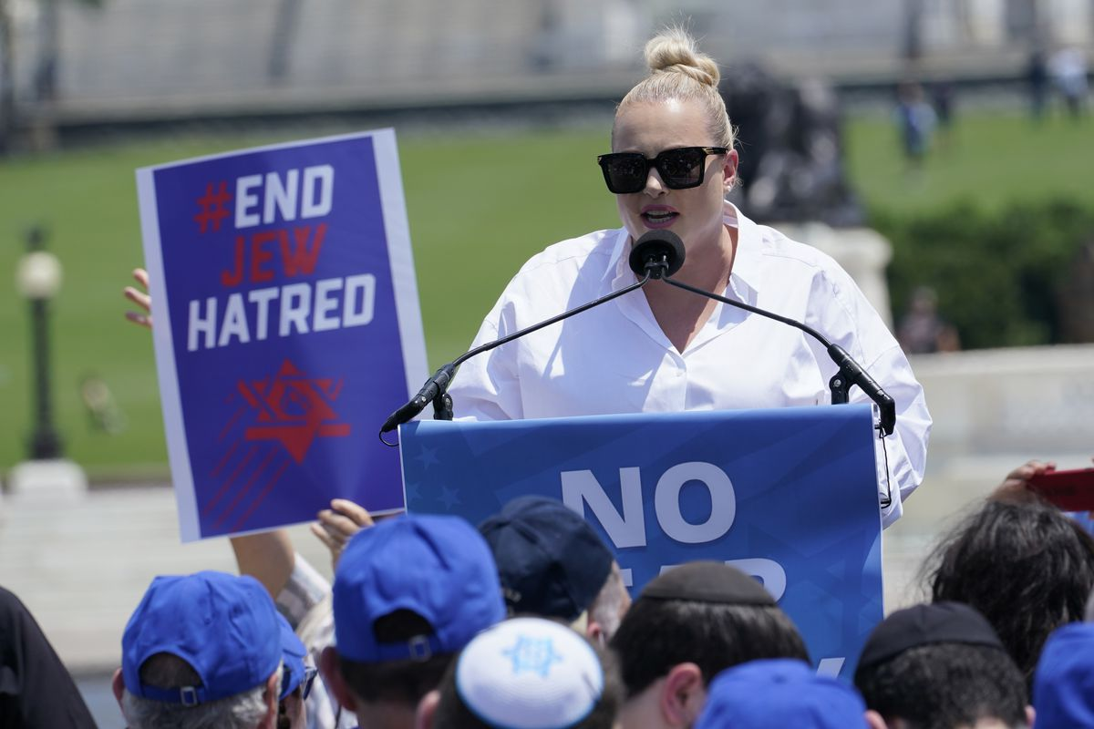 """Meghan McCain speaks at the """"No Fear: Rally in Solidarity with the Jewish People"""" event in Washington, Sunday, July 11, 2021."""