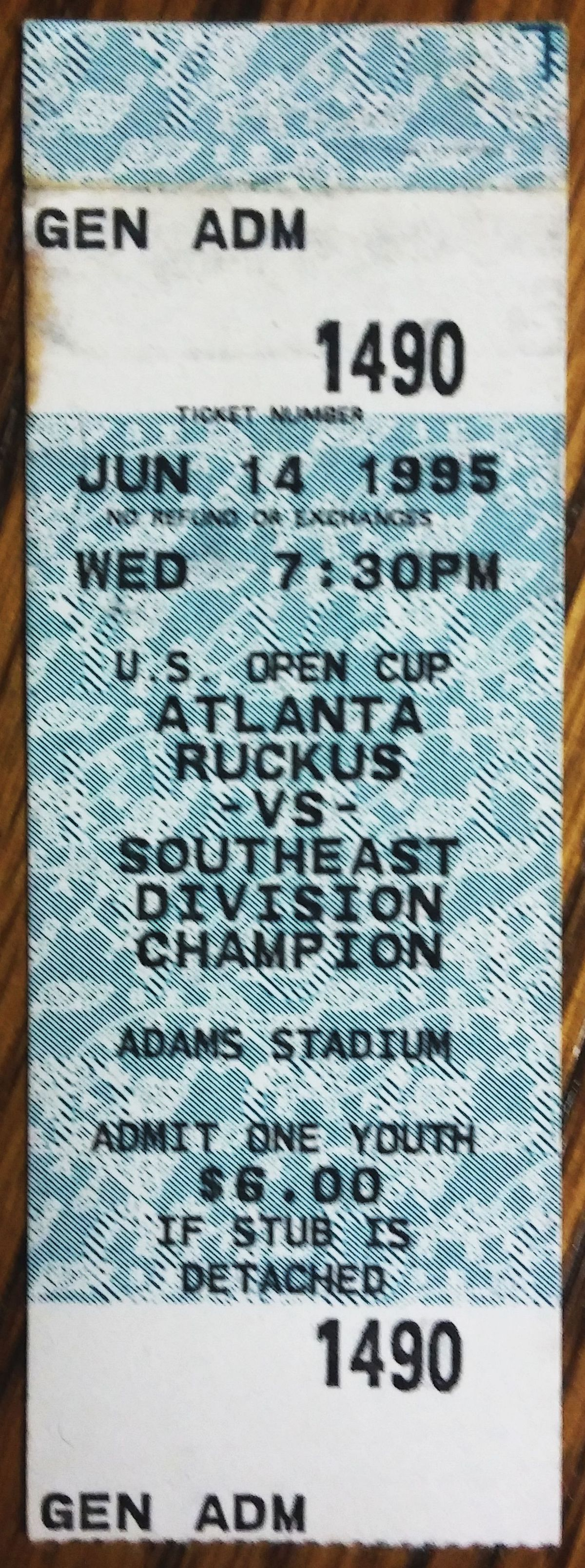 Ruckus ticket stub from US Open Cup match