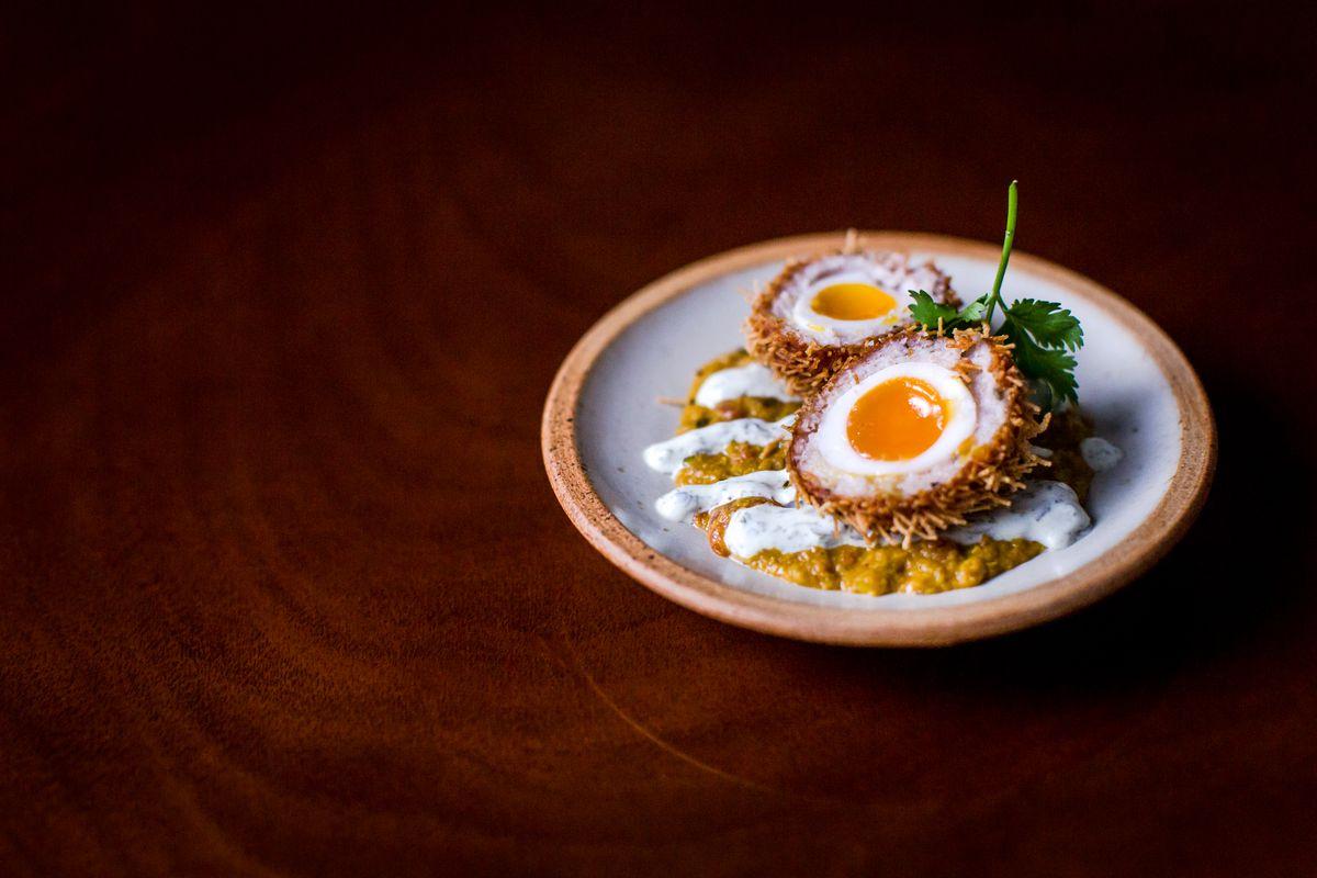 Best pub grub in London: Masala scotch egg at The Wigmore pub