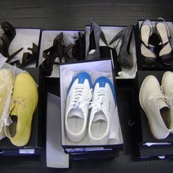 Mens shoes in front, ladies in the rear