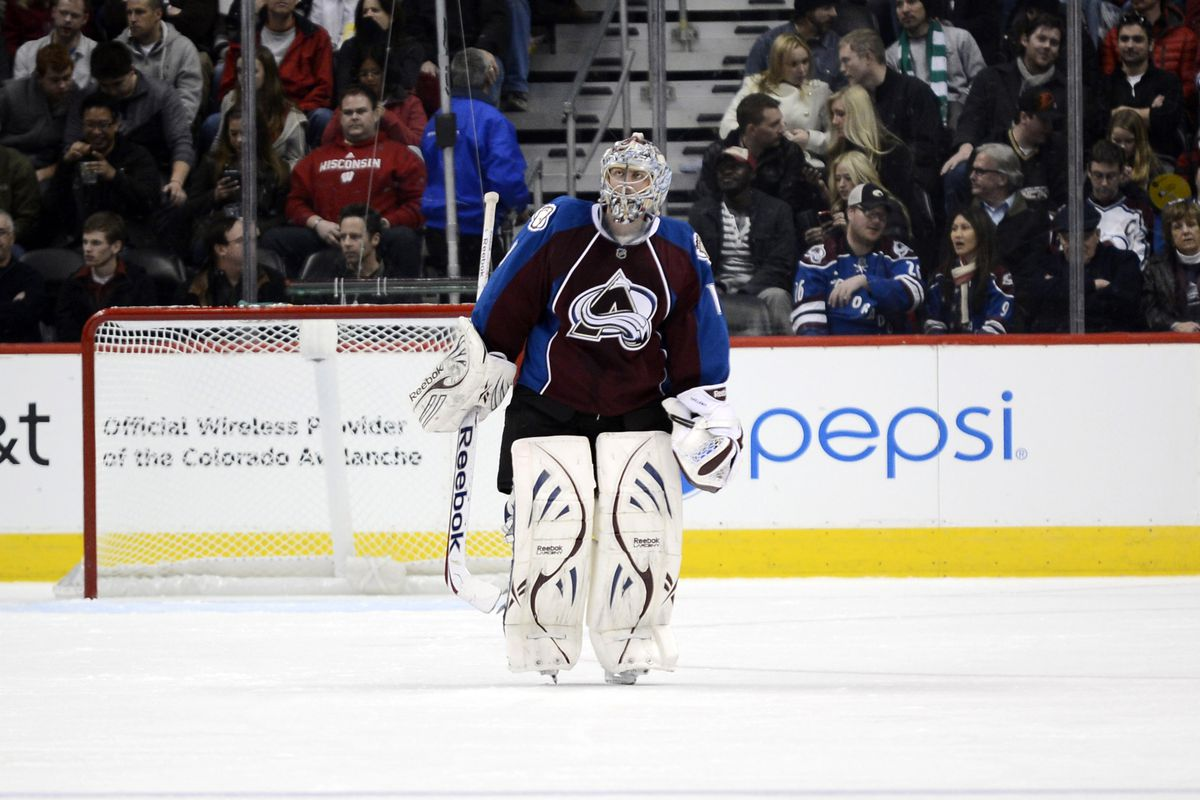 Semyon Varlamov, pictured here with his entire defensive corps.