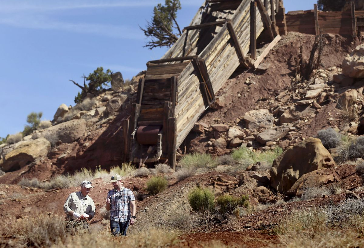 Dan Proctor and his son, Nick, survey their mining claim located in the Colt Mesa area of the former Grand Staircase-Escalante National Monument on Friday, May 14, 2021. The area contains grades of cobalt at higher concentrations than cobalt mines in the Democratic Republic of Congo.