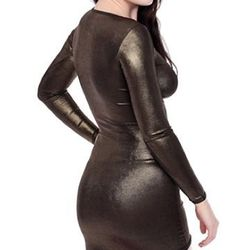"""Foil print nylon-spandex micro-mesh long sleeve mini dress (whew), $48 at <a href=""""http://store.americanapparel.net/rsans309s.html?cid=29&c=Metallic%20Teal"""">American Apparel</a>. Because really, when else could you wear this?"""