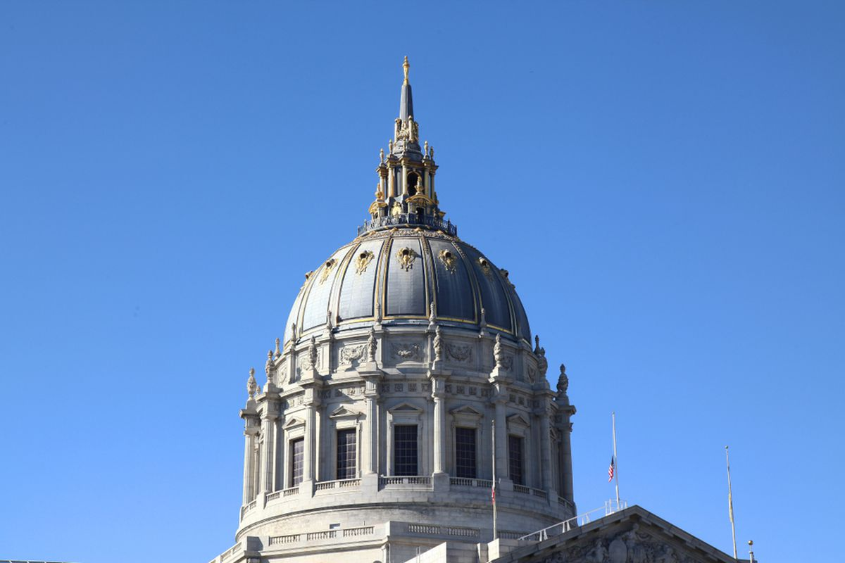 The dome of SF City Hall on a clear day.
