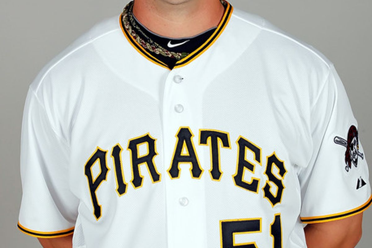 BRADENTON FL - FEBRUARY 20:  Infielder Steve Pearce #51 of the Pittsburgh Pirates poses for a photo during photo day at Pirate City on February 20 2011 in Bradenton Florida.  (Photo by J. Meric/Getty Images)