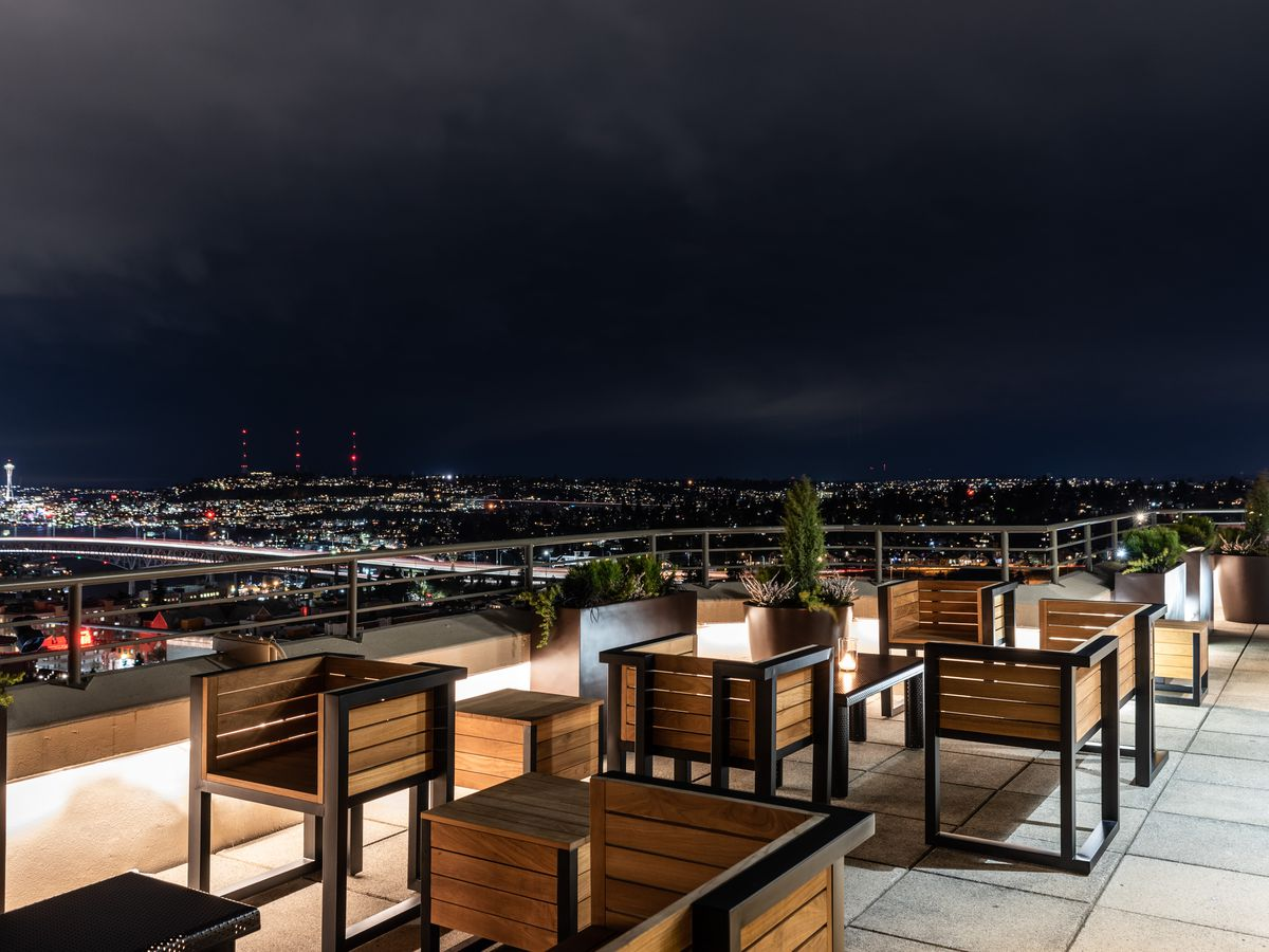 A view at night from the Mountaineering Club's outdoor patio.