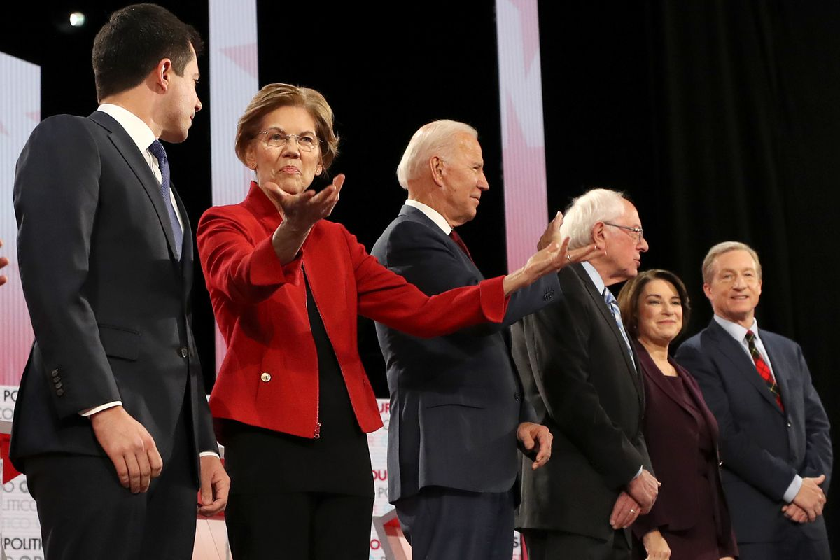 This is the last debate, but these six candidates — Buttigieg, Warren, Biden, Sanders, Klobuchar, and Steyer — qualified for tonight's debate as well.