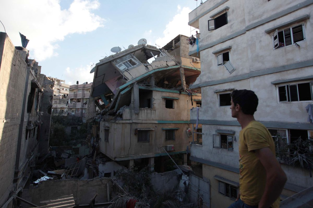 A destroyed home in Gaza City