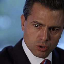 Mexico's presidential front-runner Enrique Pena Nieto, of the Revolutionary Institutional Party (PRI), speaks during an interview with the Associated Press at the AP offices in Mexico City, Monday, April 23, 2012. Pena Nieto says he's against legalizing drugs as a method to fight trafficking in a country plagued by violence.