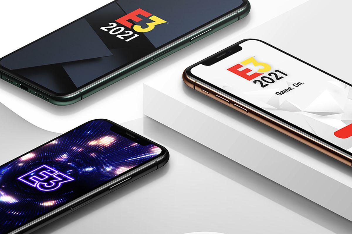 E3 2021 logos on three smartphones