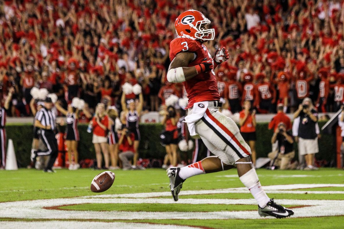 September 15, 2012; Athens, GA, USA; Georgia Bulldogs running back Todd Gurley (3) scores a touchdown in the second half against the Florida Atlantic Owls at Sanford Stadium. Georgia won 56-20. Mandatory Credit: Daniel Shirey-US PRESSWIRE