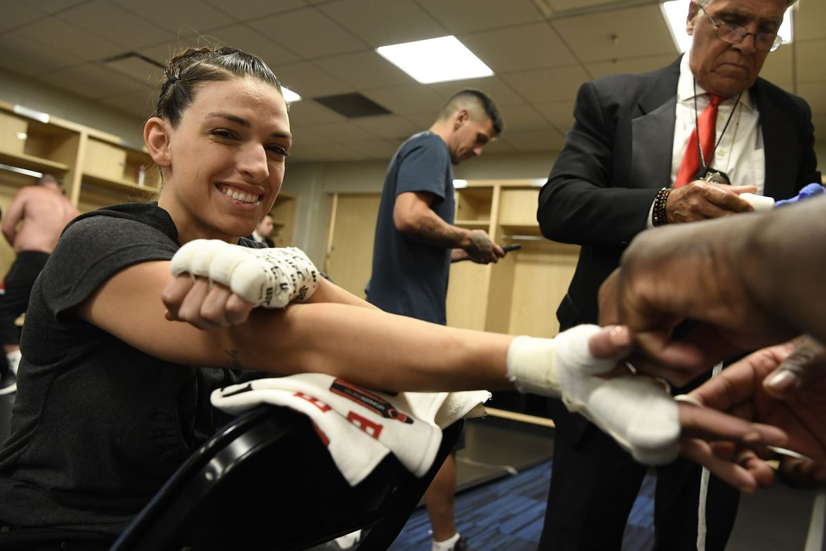 Mackenzie Dern has her hands wrapped backstage during the UFC Fight Night event at Amalie Arena on October 12, 2019 in Tampa, Florida.