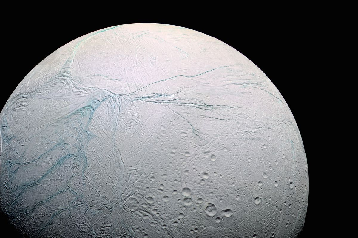 Fractures on the surface of Enceladus, a moon of Saturn, were first seen emitting water vapor in 2005.