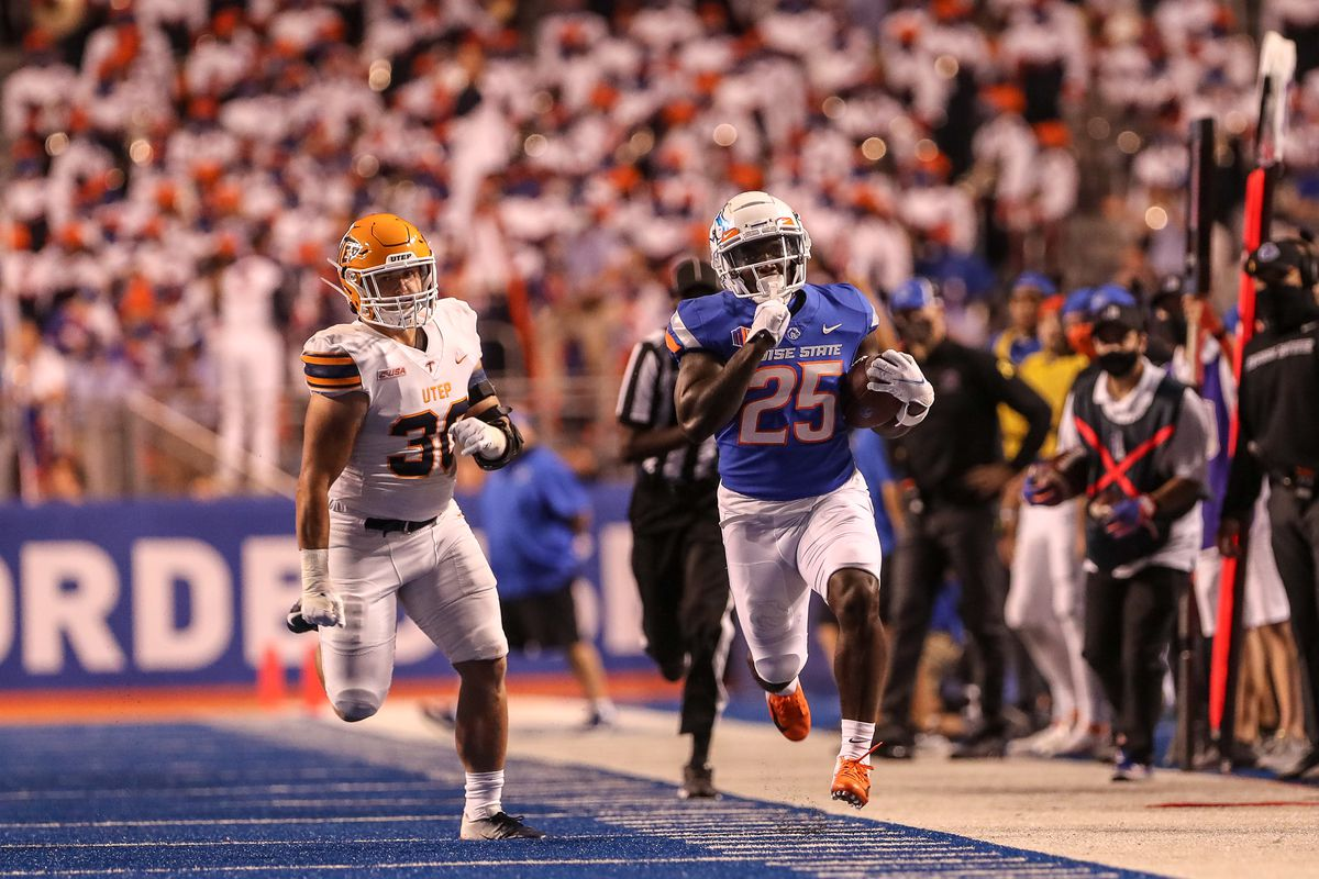 Running back Taequan Tyler of the Boise State Broncos sprints down the sidelines during the second half against the UTEP Miners at Albertsons Stadium on September 10, 2021 in Boise, Idaho.