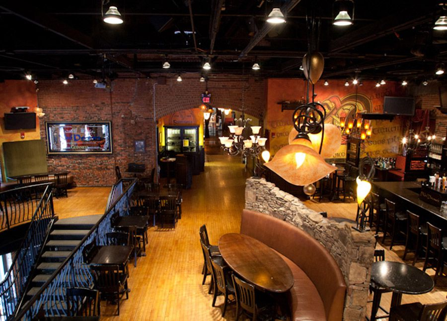 interior view of an upscale Irish pub with lots of glossy light wood