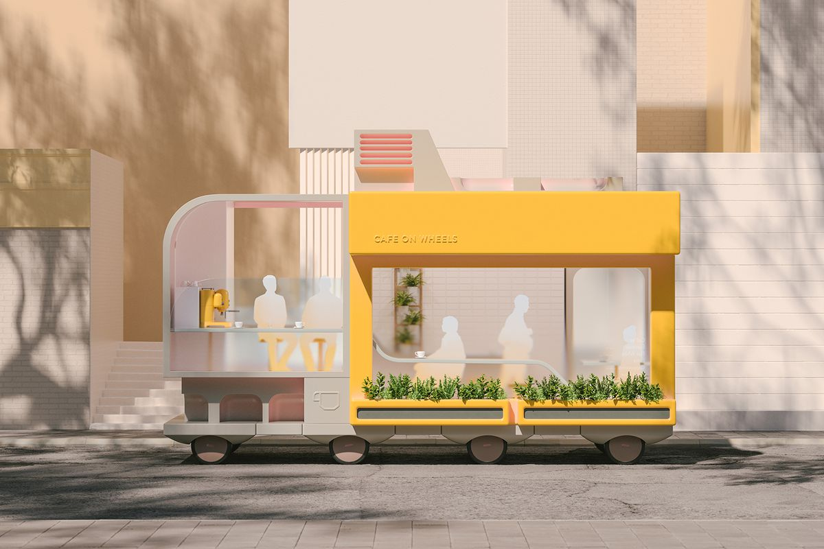 """Space 10's """"Spaces on Wheels"""" concept project explores the future of autonomous vehicles. One of the ideas is a mobile cafe that lets you have coffee and socialize while you travel."""