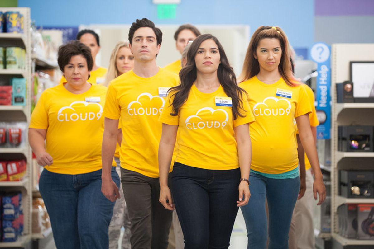 Jonah (Ben Feldman), Amy (America Ferrera), and Cheyenne (Nichole Bloom) get to work