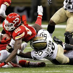 Kansas City's Jamaal Charles (25) rushed for 233 yards against New Orleans, including a 91-yard TD on Sunday.