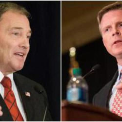 Gov. Gary Herbert held a commanding lead over his GOP primary challenger, Overstock.com chairman Jonathan Johnson Tuesday, with 74 percent of the vote in early results released after the polls closed at 8 p.m.