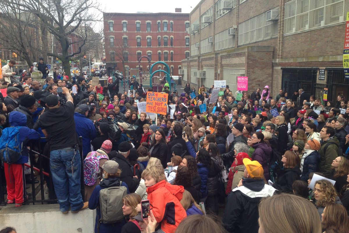 A protest in 2014 at P.S. 321 in Park Slope against the state English exams.