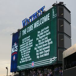 One of the multiple displays showing the list of the government officials who were given the option of purchasing postseason tickets by the Cubs