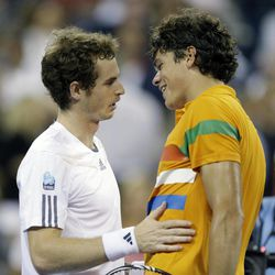 Andy Murray, left, of Britain, is congratulated by Milos Raonic, of Canada, after Murray defeated Raonic in a match during the U.S. Open tennis tournament, Monday, Sept. 3, 2012, in New York. Murray won 6-4, 6-4, 6-2.