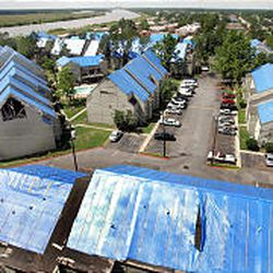 A New Orleans neighborhood still has temporary blue tarps over roofs almost nine months after Hurricane Katrina devastated the area. Many residents are frustrated by the wait for repair to their homes.