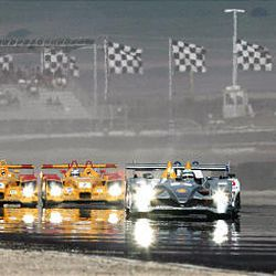 Drivers compete in the American Le Mans Series race at Miller Motorsports Park May 19, 2007.