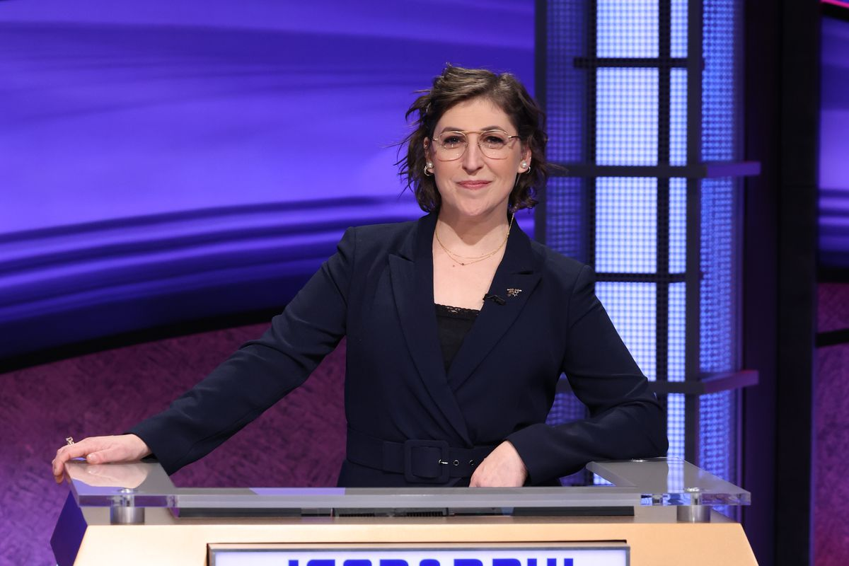 """Mayim Bialik, a neuroscientist and actress known for her role as Amy Farrah Fowler on """"The Big Bang Theory,"""" on the set of """"Jeopardy!"""""""
