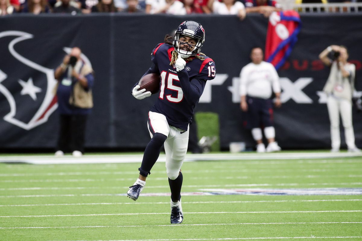 Houston Texans wide receiver Will Fuller runs with the ball during the first half against the Atlanta Falcons at NRG Stadium.