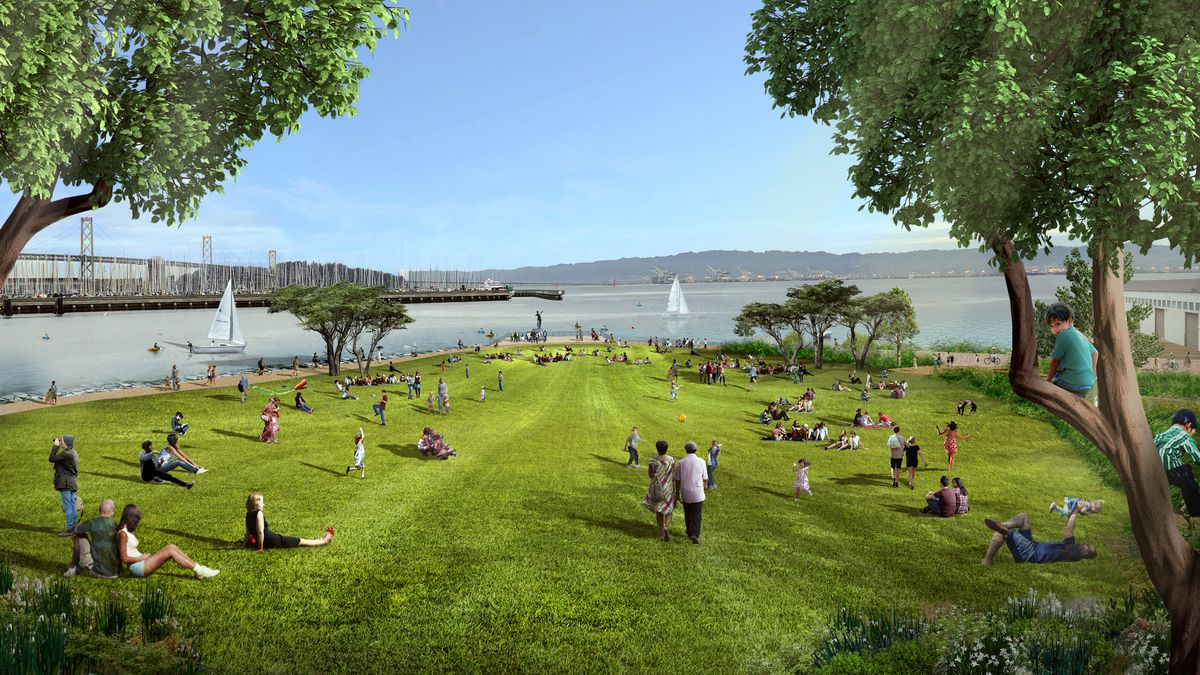 An illustration of people relaxing on a grass hilltop lined with trees, with a white sailboat in the bay beyond.