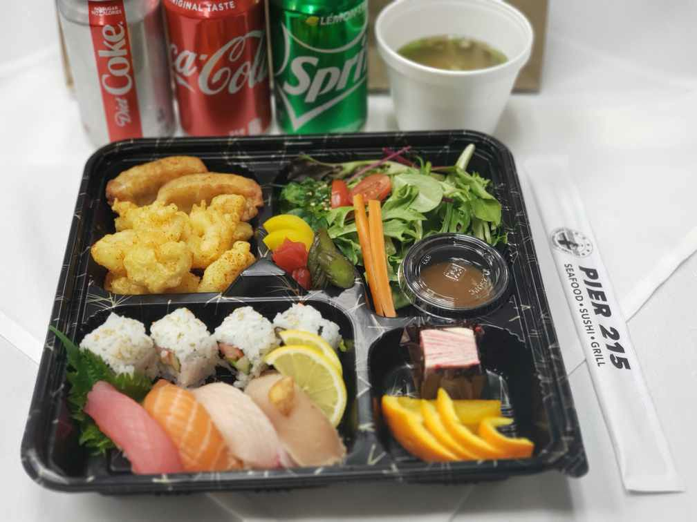 Sushi bento box at Pier 215