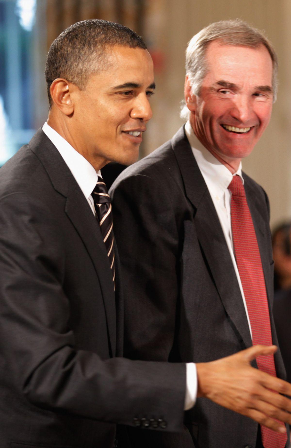 Barack Obama on left, David Swensen on right